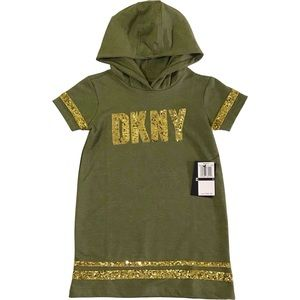 NWT! Dusty Olive DKNY Hooded Toddler Short Sleeve Dress w/Gold Details | Size 4